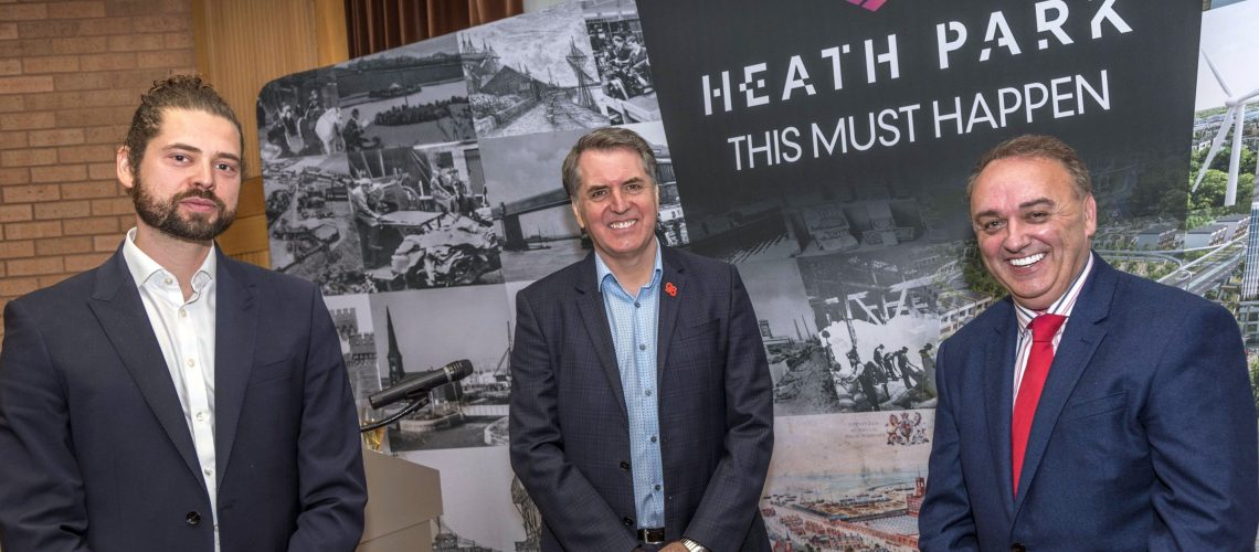 Announcement of the new Heath Park plans at The Heath in Runcorn today. Fri May 14 2021.